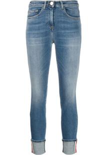 Elisabetta Franchi Calça Jeans Skinny Com Barra Italiana - Azul