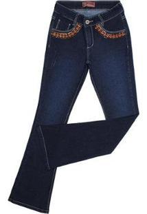 Calça Jeans Smith Brothers Flare Bordada Elastano Feminina - Feminino-Azul