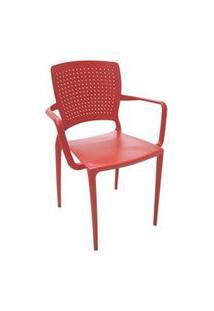 Cadeira/ Poltrona Com Braço Tramontina Safira Vermelha Vermelho