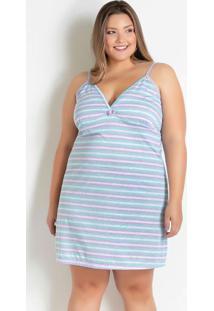Camisola Plus Size Com Decote Em V Listras