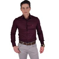 0e3da719cb Camisa Social Horus Super Slim Vinho 200119
