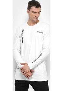 Camiseta Calvin Klein Estampada Manga Longa Masculina - Masculino-Branco