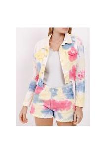 Jaqueta Jeans Tie Dye Feminina Branco/Multicolorido