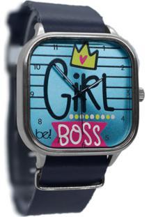 Relógio Girl Boss Bewatchoficial Pulseira De Couro Navy Azul