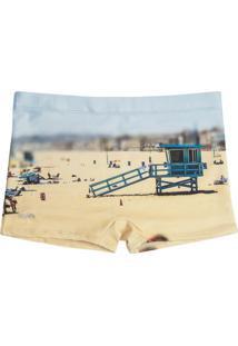 Sunga Boxer Estampada Praia Areia G