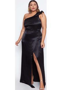 Vestido Almaria Plus Size Pianeta Acetinado Preto