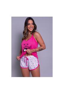 Pijama Feminino Serra E Mar Modas Short Doll Estampado Pink