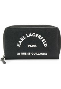 Karl Lagerfeld Carteira Rue St Guillaume Com Zíper - Preto