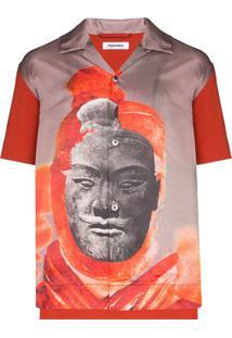Pronounce Camisa Com Estampa De Estátua - Vermelho