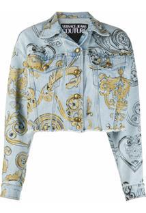 Versace Jeans Couture Jaqueta Jeans Cropped Com Estampa Barroca - Azul