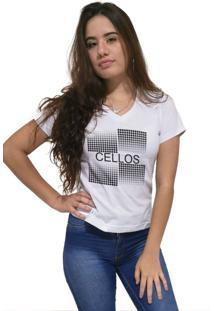 Camiseta Feminina Gola V Cellos Degradê Premium Branco - Kanui