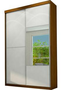 Guarda Roupa Atlantida 2 Portas Com Espelho Nogueira / Branco Ac / Nogueira