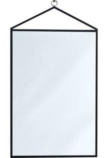 Espelho Geomã©Trico Com Alã§A- Espelhado & Preto- 79X4Mart