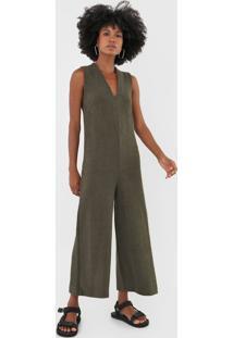 Macacão Osklen Pantalona Textura Verde