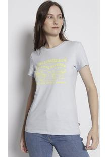 Camiseta Com Inscriã§Ãµes- Azul Claro & Amarelalevis