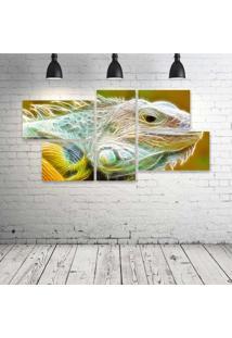 Quadro Decorativo - Iguana-Neon-Face - Composto De 5 Quadros