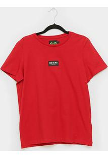 Camiseta Colcci Básica Thank You Next Feminina - Feminino-Vermelho