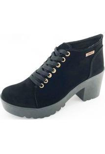 Bota Quality Shoes Camurça Feminina - Feminino-Preto