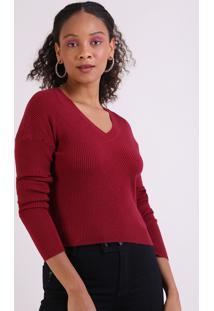 Suéter Em Tricô Feminino Básico Cropped Texturizado Vermelho