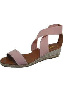 Sandália Anabela S2 Shoes Elástico Rosê