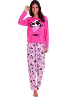 Pijama Longo De Inverno Luna Cuore Feminino - Feminino-Pink