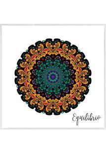 Quadro Decorativo Mandala- Branco & Laranja Claro- 4Arte Prã³Pria