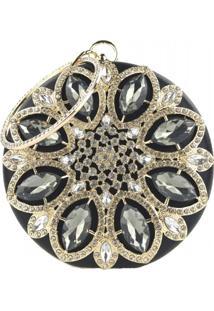 Bolsa Clutch Liage Redonda Pedraria Pedra Strass Cristal Brilhante E Metal Preta E Dourada - Kanui