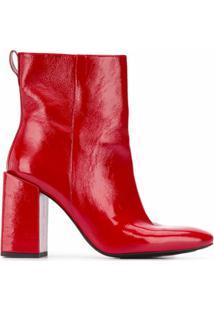 Ami Ankle Boot Com Salto Bloco - Vermelho