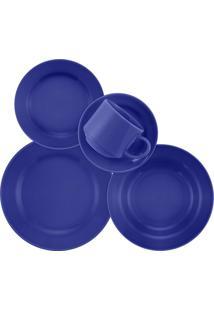 Aparelho De Jantar Donna 30 Peças Cerâmica Azul Biona