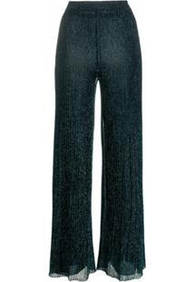 Missoni Calça Pantalona Risca De Giz Metálica - Azul