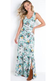 Vestido Longo Floral Azul Claro Com Franzidos