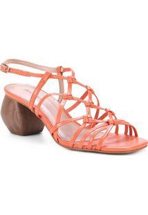 Sandália Couro Shoestock Macramê Salto Médio Geométrico Feminino - Feminino-Laranja