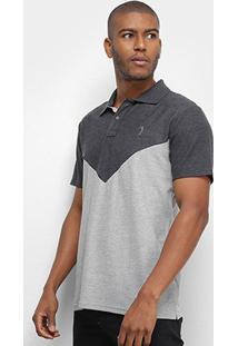 Camisa Polo Aleatory Bicolor Masculina - Masculino-Mescla