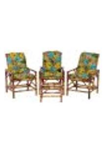 Conjunto Mesa E 3 Cadeiras De Bambu Cancun Para Área Edicula Jardim G10