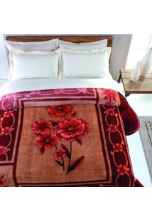 Cobertor Casal Islândia Poliéster Microfibra Jolitex 1,80Mx2,20M Vermelho