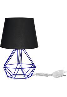 Abajur Diamante Dome Preto Com Aramado Azul - Preto - Dafiti