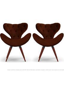 Kit De 02 Poltronas Decorativas Cadeiras Egg Com Capitonê Marrom Com Base Fixa De Madeira