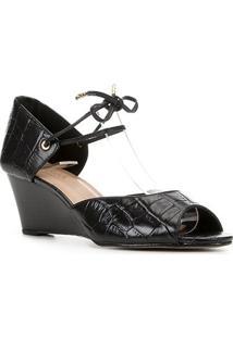 Peep Toe Couro Shoestock Anabela Croco Amarração - Feminino-Preto