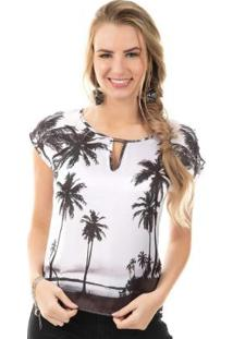 Blusa Com Estampa Tropical Branco