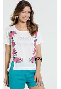 Blusa Feminina Manga Curta Estampa Rosas Marisa