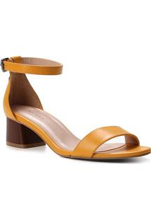 Sandália Couro Shoestock Básica Salto Bloco Baixo Feminina - Feminino-Amarelo