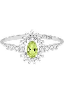 Anel Ouro Branco Peridoto E Diamantes