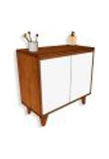 Gabinete De Banheiro Anny 2 Pt Branco E Ipê 80 Cm