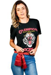 Camiseta Shop55 Renda Tigre Preta