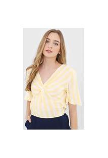 Blusa Lunender Listrada Amarela/Bege