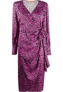 Andamane Vestido Envelope Carly De Cetim Com Estampa De Leopardo - Roxo