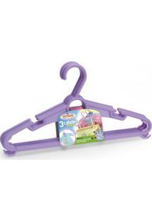 Conjunto Kit 3 Cabides Infantil Sortidos Colorido Plástico