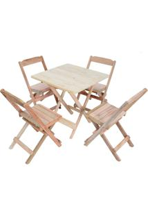 Conjunto 4 Cadeiras E 1 Mesa Dobrável 70 X 70 - Sem Pintura