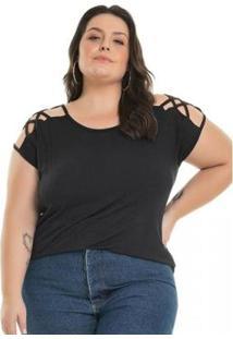 Camiseta Plus Size Malha De Viscose Strappy Miss Masy Plus Feminina - Feminino