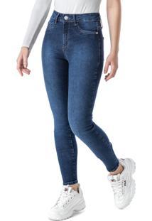 Calça Azul Escuro Skinny Em Jeans